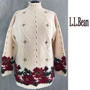 LLBEAN Cable + Intarsia Poinsettia Knit Sweater